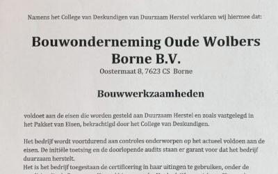 Certificaat Duurzaam Herstel voor Oude Wolbers
